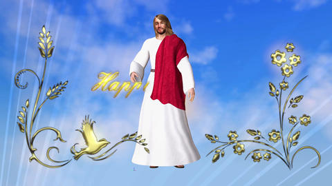 Easter card with figure of Jesus on a green screen with flowers and text Animation
