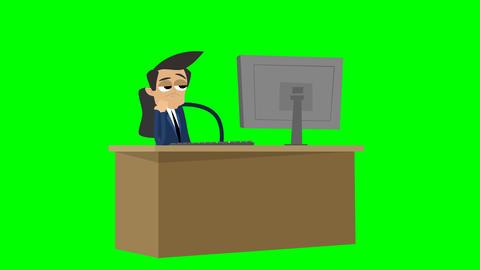 [alt video] Businessman Animation - bored at work