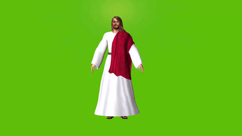 Easter theme, Two seperate animations of Jesus on a green background Animation