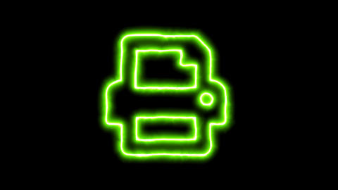 The appearance of the green neon symbol print. Flicker, In - Out. Alpha channel Animation