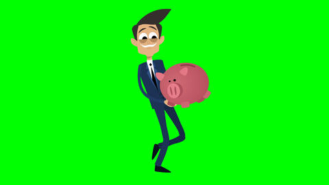 Businessman Animation - carrying a piggybag Animation