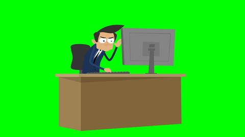 [alt video] Businessman Animation - working angrily at desk