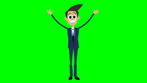 Businessman Animation - waving with two hands Videos animados