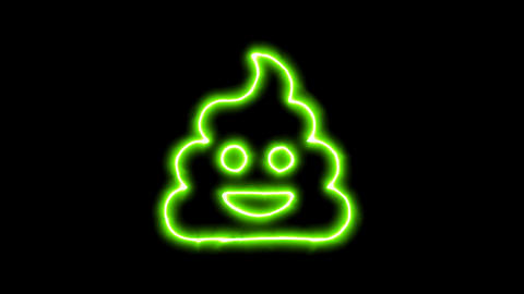 The appearance of the green neon symbol poo. Flicker, In - Out. Alpha channel Animation