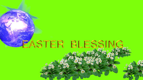 Easter card with moving earth, text and flowers on green background Animation
