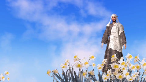 Easter card background with Jesus animation, blue sky with moving daffodils Animation