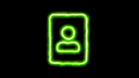 The appearance of the green neon symbol portrait. Flicker, In - Out. Alpha Animation