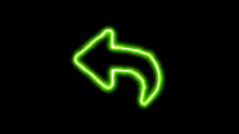 The appearance of the green neon symbol reply. Flicker, In - Out. Alpha channel Animation