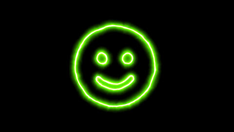 The appearance of the green neon symbol smile. Flicker, In - Out. Alpha channel Animation