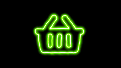 The appearance of the green neon symbol shopping basket. Flicker, In - Out. Animation