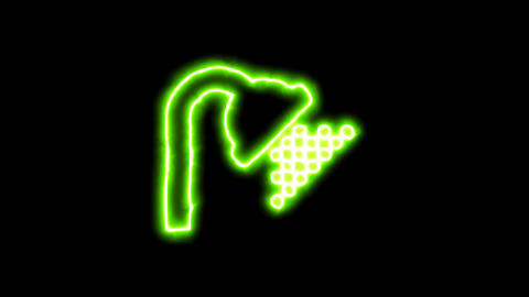 The appearance of the green neon symbol shower. Flicker, In - Out. Alpha channel Animation