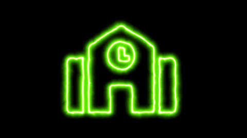 The appearance of the green neon symbol town hall. Flicker, In - Out. Alpha Animation