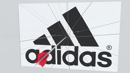 Archery arrow hits plate with ADIDAS logo. Corporate problems conceptual Live Action