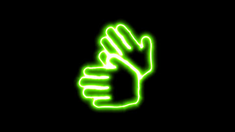The appearance of the green neon symbol sign language. Flicker, In - Out. Alpha Animation