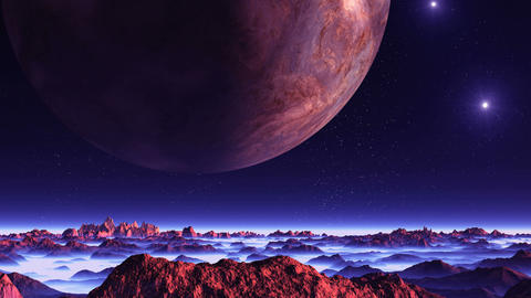 Two Moons and the Sun over Alien Planet GIF