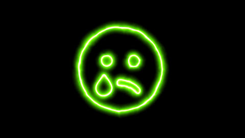 The appearance of the green neon symbol sad tear. Flicker, In - Out. Alpha Animation