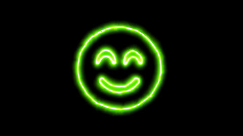 The appearance of the green neon symbol smile beam. Flicker, In - Out. Alpha Animation