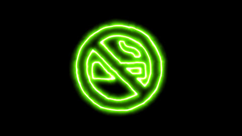 The appearance of the green neon symbol smoking ban. Flicker, In - Out. Alpha Animation