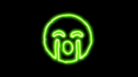 The appearance of the green neon symbol sad cry. Flicker, In - Out. Alpha Animation