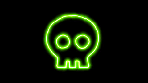 The appearance of the green neon symbol skull. Flicker, In - Out. Alpha channel Animation