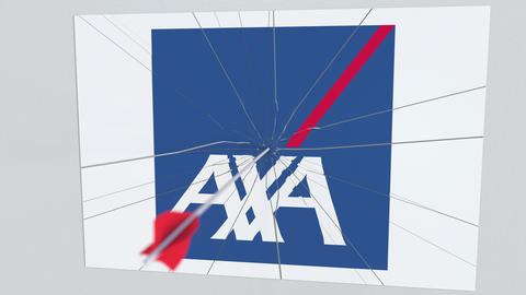 AXA company logo being hit by archery arrow. Business crisis conceptual Live Action