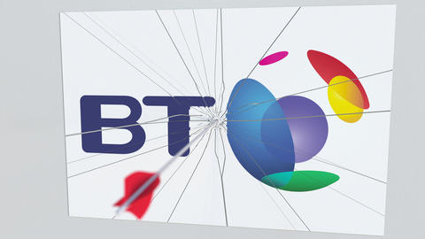BRITISH TELECOM company logo being hit by archery arrow. Business crisis Live Action