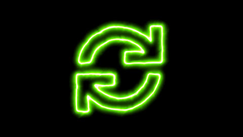 The appearance of the green neon symbol sync. Flicker, In - Out. Alpha channel Animation
