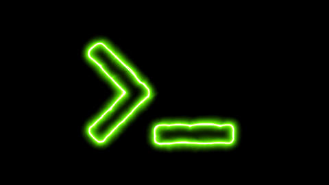 The appearance of the green neon symbol terminal. Flicker, In - Out. Alpha Animation