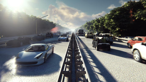 Heavy traffic in the city during the day. Cars entering the city in the morning Animation