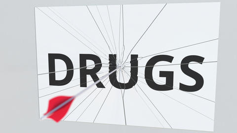 DRUGS text plate being hit by archery arrow. Conceptual 3D animation Live Action