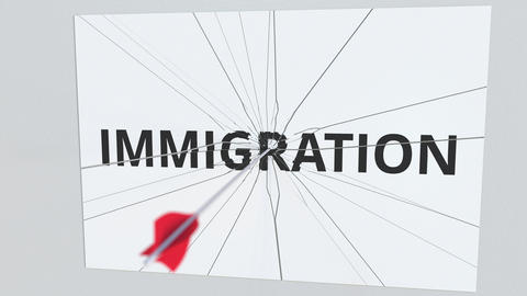 IMMIGRATION text plate being hit by archery arrow. Conceptual 3D animation Live Action