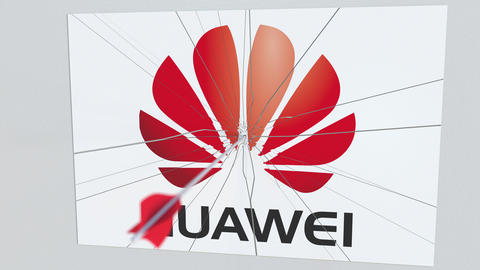 Archery arrow hits plate with HUAWEI logo. Corporate problems conceptual Live Action