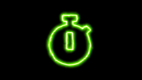 The appearance of the green neon symbol stopwatch. Flicker, In - Out. Alpha Animation