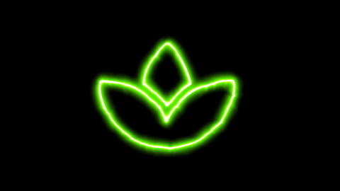 The appearance of the green neon symbol spa lotus. Flicker, In - Out. Alpha Animation