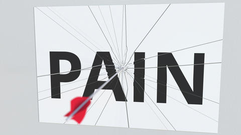 Archery arrow hits glass plate with PAIN text. Conceptual 3D animation Footage