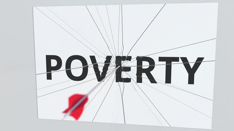POVERTY text plate being hit by archery arrow. Conceptual 3D animation Footage