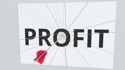 Archery arrow breaks plate with PROFIT text, conceptual 3D animation Live Action