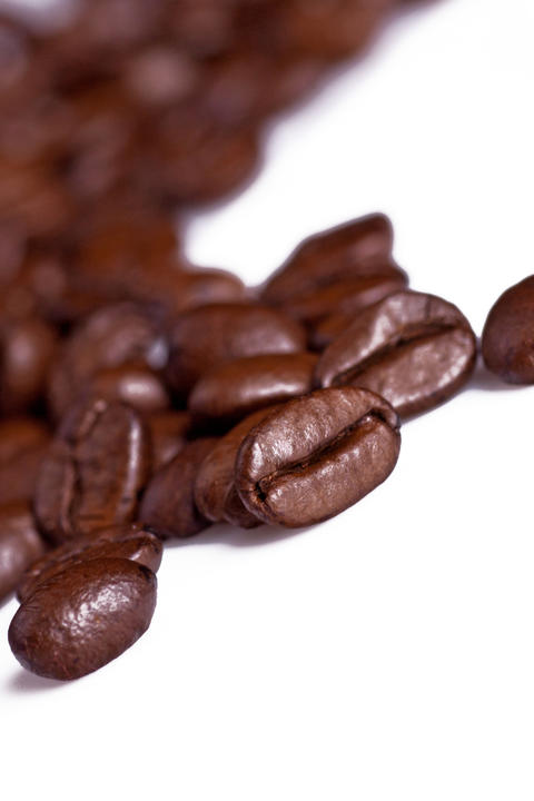 Coffe beans on white Background Detail Photo