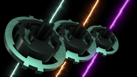 Close Up Of Rotating Hi Tech Gear with laser beam Animation