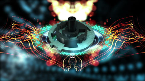 animation of abstract background with wave particles and HUD Element in Hologram CG動画素材