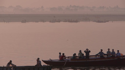 A boat passes on the Ganges,Varanasi,India Footage