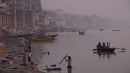 People washing in the Ganges,Varanasi,India Footage