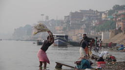 Men washing clothes in the Ganges,Varanasi,India Footage