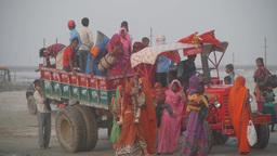 Pelgrims arrive per tractor at Sangam ,Allahabad,India Footage