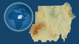 Sudan and Globe. Relief Animation