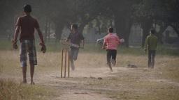 Boys playing cricket on the Maiden,Kolkata,India Footage