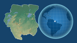 Suriname and Globe. Relief Animation