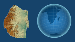 Swaziland and Globe. Relief Animation