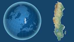 Sweden and Globe. Relief Animation