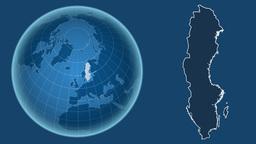 Sweden and Globe. Solids Animation